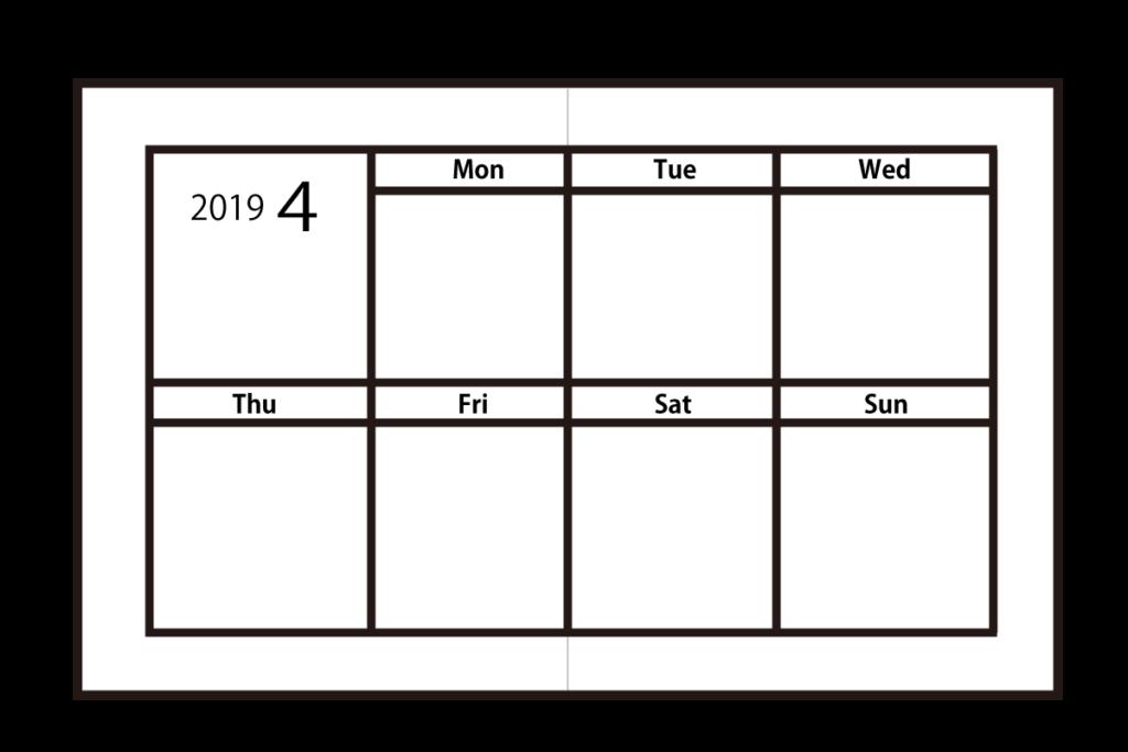 週間ブロックタイプの手帳は、見開きが2行×4列となり、一日に記入できるスペースがやや大きめ。
