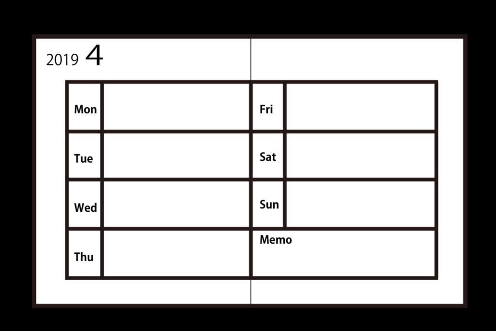 ホリゾンタルタイプの手帳の特徴は、週間レフト式の手帳の左側部分を広げた時、見開きのすべてに1週間分の予定スペースがあります。