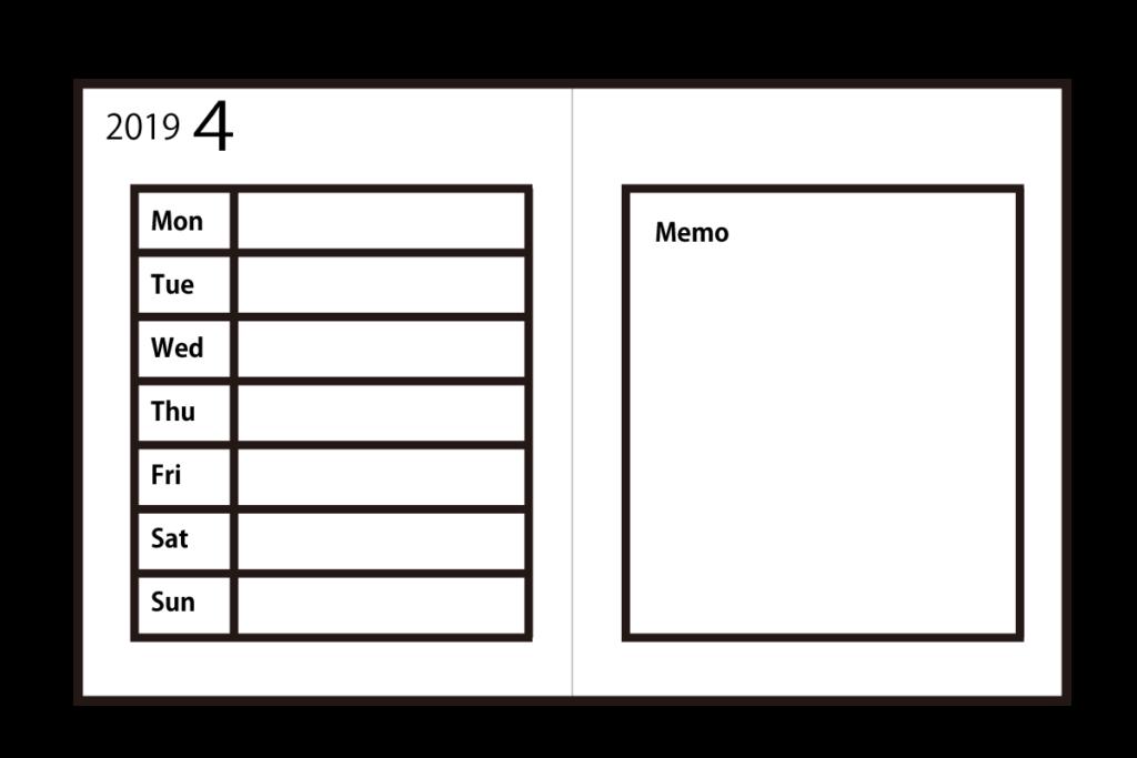 週間レフトタイプの手帳は、見開きの左側が一週間の予定を1日単位で書くスペースがあるため、その日の出来事などを細かに記入できるメリットがあります。