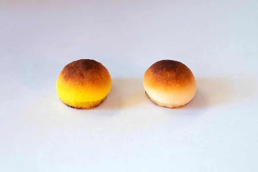 実は中身は栗しぐれとほとんど一緒なんですよw ただ、『京桃山』は、栗しぐれに比べて卵黄を少し多く使っています。