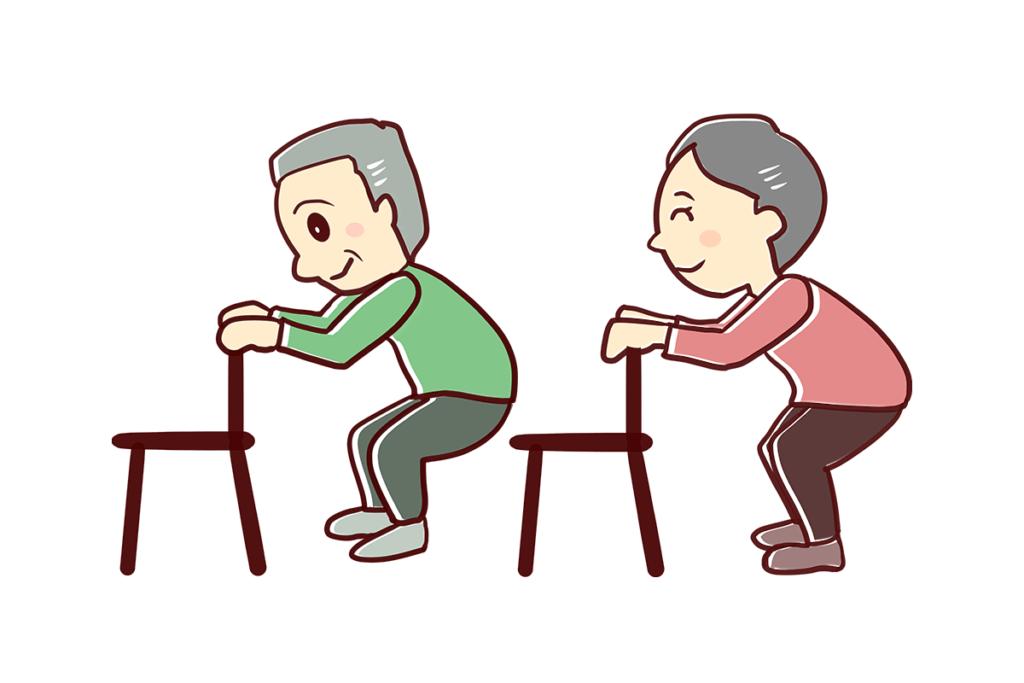 スクワットポイントは椅子に腰掛ける感じでゆっくりとやることです。